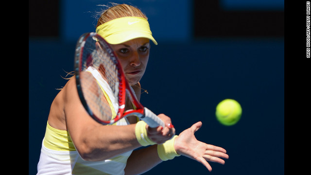 Germany's Sabine Lisicki plays a return during her women's singles match against Denmark's Caroline Wozniacki on January 15. Wozniacki defeated Lisicki 2-6, 6-3, 6-3.