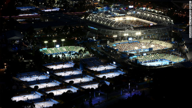 The courts at Melbourne Park are lit for night play during day two of the tournament on January 15.