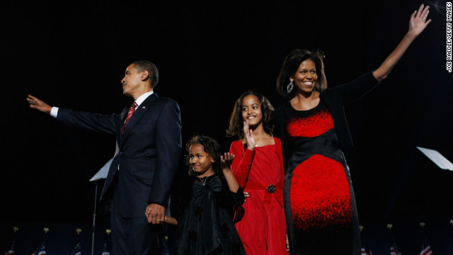 The public's obsession with Obama's sartorial choices began with the Narciso Rodriguez sheath she wore when her family took the stage at Chicago's Grant Park after her husband's victory in the 2008 presidential election. Some lauded the choice as an eye-catching statement; others called it an eyesore.
