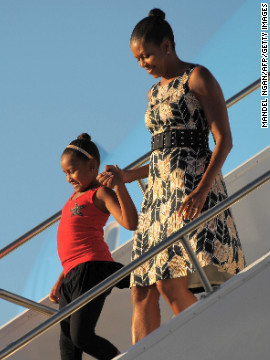 Obama has worn &lt;a href='http://mrs-o.com/newdata/2009/8/17/scenes-from-the-weekend-updated.html' target='_blank'&gt;this Target dress&lt;/a&gt; on multiple occasions since being photographed in it as she stepped off Air Force One with daughter Sasha on August 15, 2009, according to style blog Mrs. O.