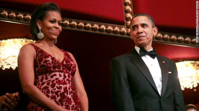 Obama highlighted the talents of Indian-born American designer Naeem Khan in this scarlet hued gown with matte crushed sequins and abstract wind-blown roses on scarlet tulle at the 2010 Kennedy Center Honors, according to Taylor.