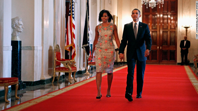 The first lady made an entrance at the 2011 Medal of Honor ceremony in a brocade dress by Barbara Tfank that she has worn on multiple occasions since, including a recent appearance on the &quot;Today&quot; show, Taylor said.