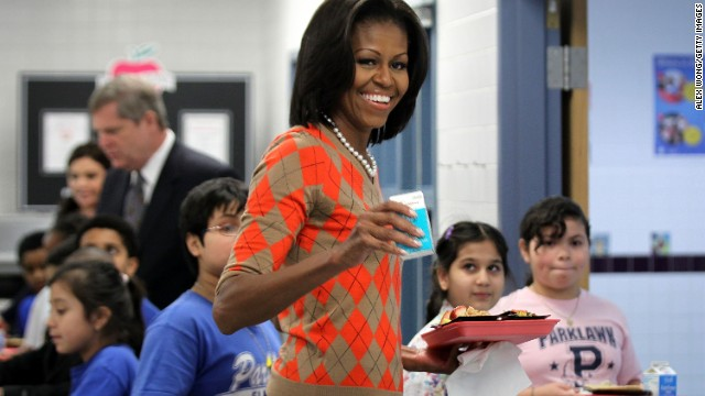 For lunch with Parklawn Elementary School students in Alexandria, Virginia, Obama wore an argyle sweater from J. Crew, Taylor said. The sweater has made multiple appearances since her January 2012 visit to talk about the USDA's new nutrition standards for school lunches.