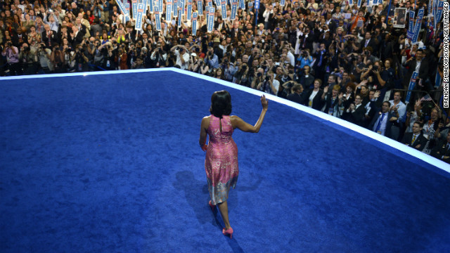 The first lady worked the crowd at the 2012 Democratic National Convention in Charlotte, North Carolina, in a Tracy Reese sheath with pink suede pumps by J.Crew, according to Taylor.