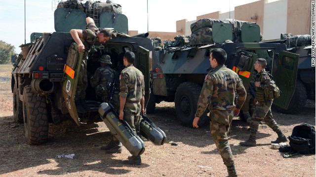 French troops prepare their Sagaie armoured all terrain vehicles from the 'Licorne' operation based in Abidjan (Ivory Coast) at the 101 military airbase near Bamako on Wednesday.
