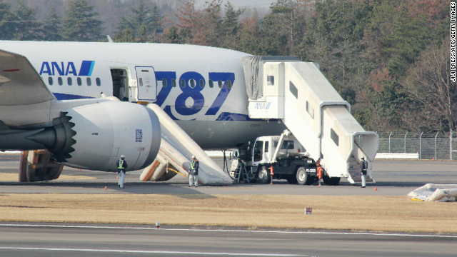An ANA Dreamliner sits on the tarmac after an emergency landing at Takamatsu Airport in western Japan on January 16.