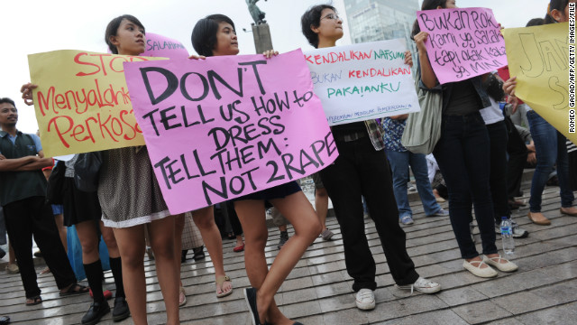 (File photo) Women stage a protest wearing miniskirts in Jakarta on September 18, 2011.