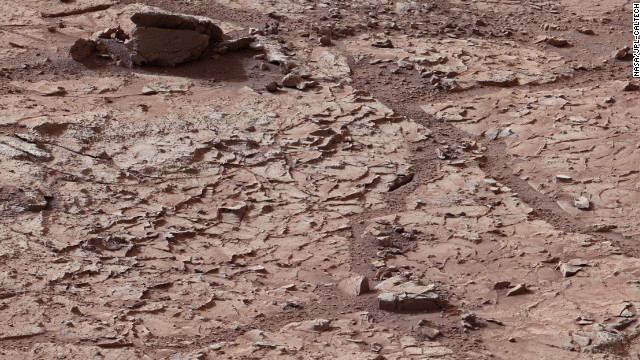 A view of what NASA describes as &quot;veined, flat-lying rock&quot; selected as the first drilling site for the Mars rover taken on January 10.