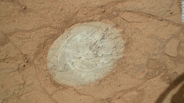 Curiosity used a dust-removal tool for the first time to clean this patch of rock on the Martian surface on January 6.