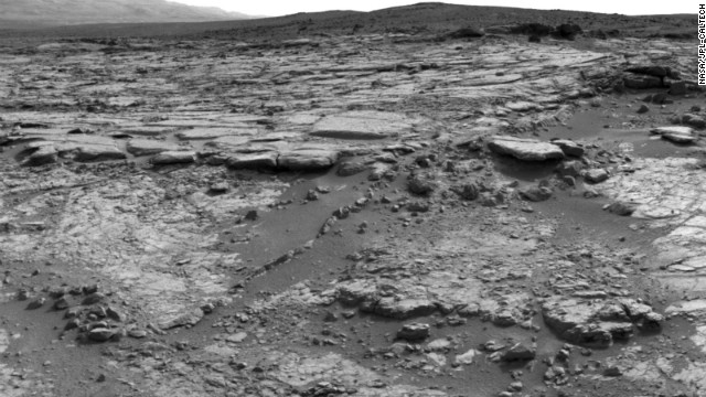 The rover captured this mosaic of images of winding rocks known as the Snake River on December 20, 2012.