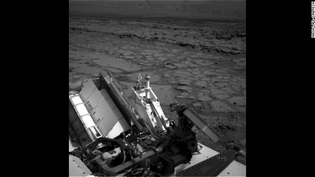 "A view of the shallow depression known as ""Yellowknife Bay,"" taken by the rover on December 12."
