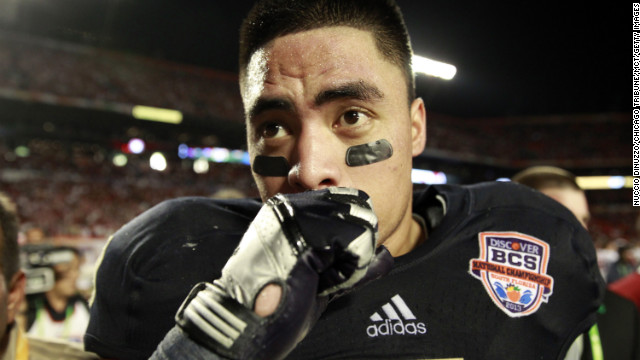 "The sports world and the Internet are abuzz as Notre Dame linebacker Manti Te'o says he was the victim of a ""sick joke"" that resulted in the creation of an inspirational story that had him overcoming the death of an online girlfriend at the same time he lost his grandmother. Here, Te'o leaves the field after a 42-14 loss against Alabama in the 2013 Discover BCS National Championship game on Monday, January 7, in Miami Gardens, Florida. See more photos of Te'o:"