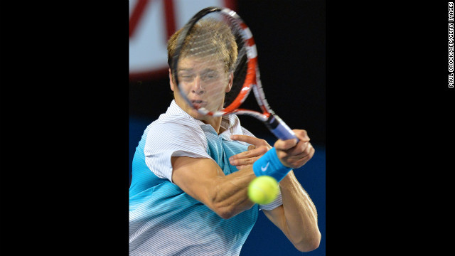 Harrison plays a return during his men's singles match against Djokovic on January 16.