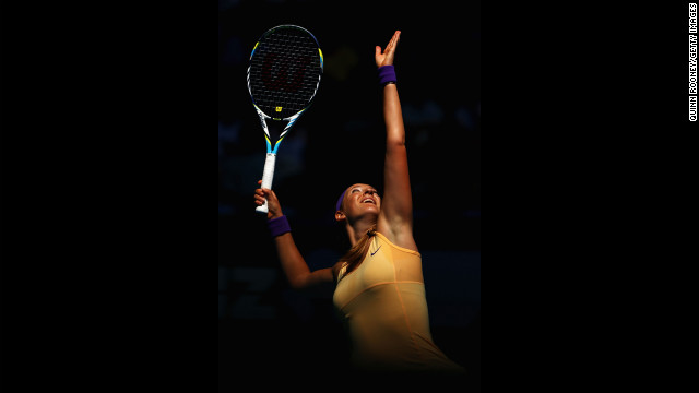 Victoria Azarenka of Belarus serves in her second-round match against Eleni Daniilidou of Greece on January 17. Azarenka defeated Daniilidou 6-1, 6-0.