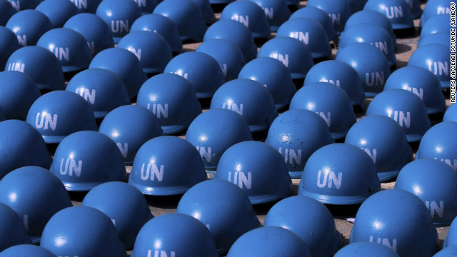 Helmets belonging to soldiers of the Nigerian army are prepared to be sent to Mali at the Nigerian army peacekeeping center near Kaduna, Nigeria, on January 17.