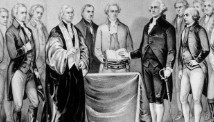 Sword by his side, George Washington takes his inaugural oath as the first President of the United States in 1788.