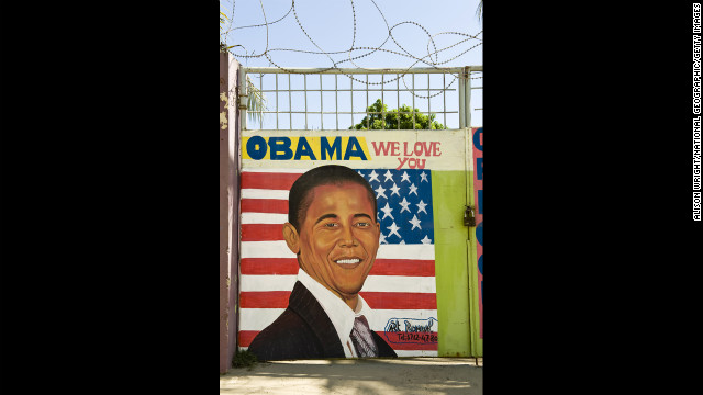 HAITI: An &quot;Obama We Love You&quot; sign in Cap Haitien, Haiti.