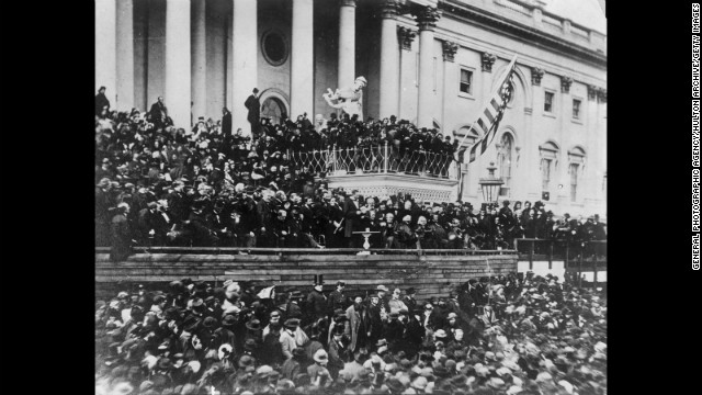 Abraham Lincoln take the oath of office for the second time on March 4, 1865.