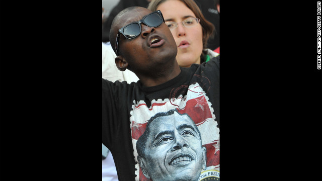 SOUTH AFRICA: A U.S. soccer supporter cheers before the United States plays Slovenia in a 2010 World Cup tournament match on June 18, 2010, in Johannesburg.