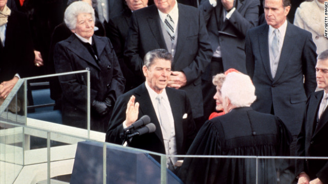 Ronald Reagan is sworn in as 40th president of the United States on January 20, 1981.