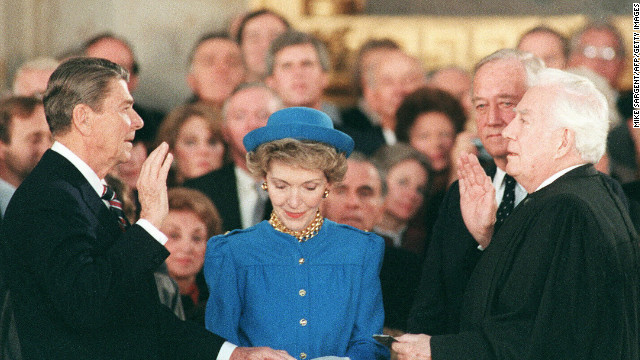 Ronald Reagan is sworn in on January 21, 1985, at the U.S. Capitol for his second term by Supreme Court Chief Justice Warren Burger.