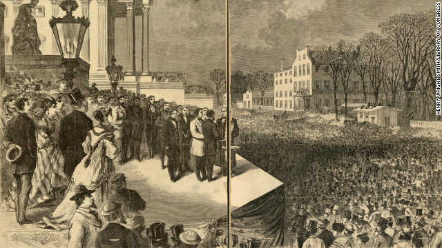 Ulysses S. Grant takes his first oath of office, administered by Chief Justice Salmon P. Chase, on the east portico of the U.S. Capitol in Washington on March 4, 1869.