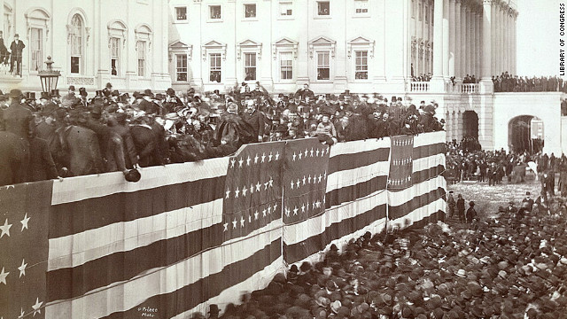 Chief Justice Morrison R. Waite administers the oath of office to James A. Garfield on the east portico of the U.S. Capitol on March 4, 1881.