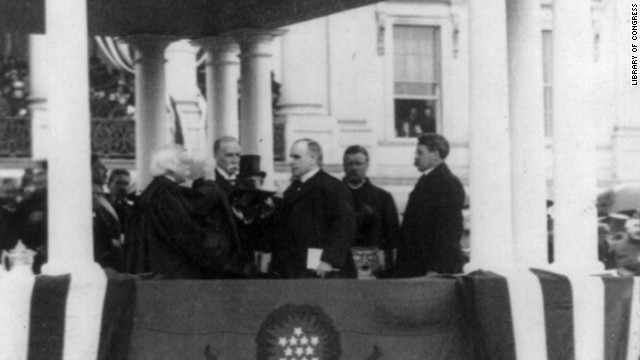 Chief Justice Melville Fuller administers the oath of office to President William McKinley for his second term on March 4, 1901.
