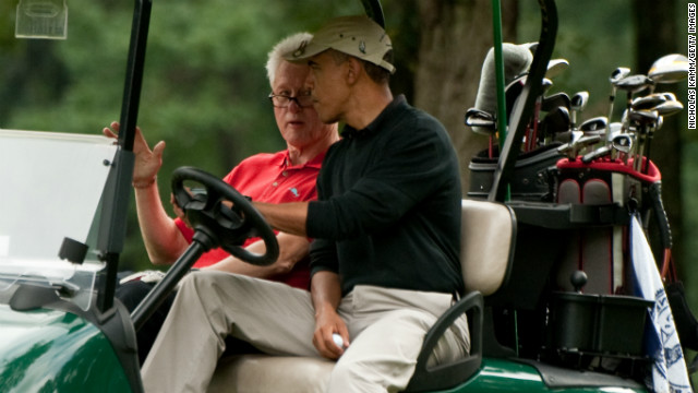 Why did Obama quit a golf game with Clinton?