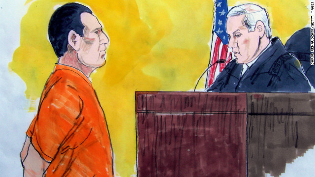 In this courtroom drawing, David Coleman Headley faces a US District Court judge on March 18, 2010 in Chicago. 