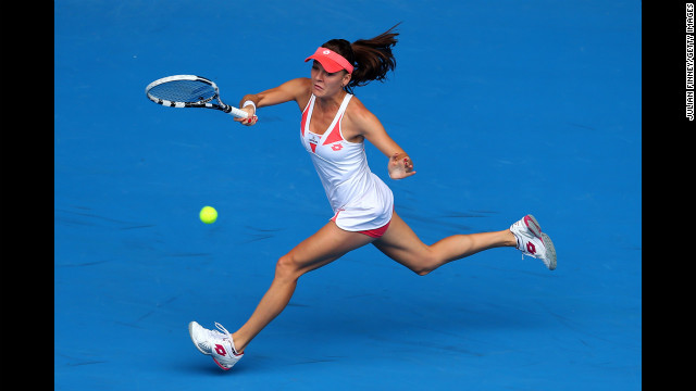 Agnieszka Radwanska of Poland plays a forehand in her third-round match against Heather Watson of Great Britain on January 18. Radwanska won 6-3, 6-1.