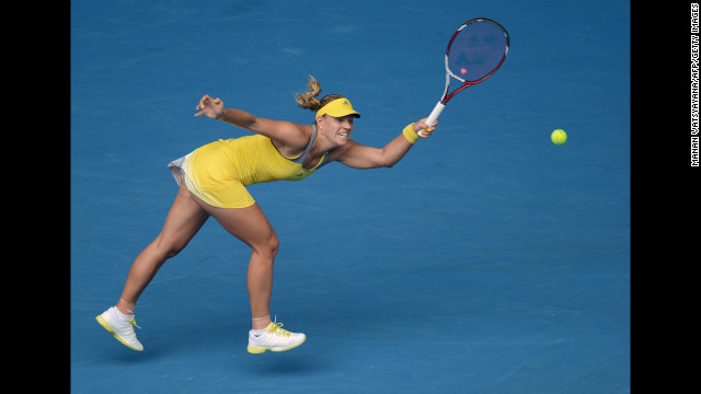 Germany's Angelique Kerber hits a return against Madison Keys of the United States during their women's singles match on January 18. Kerber won 6-2, 7-5.