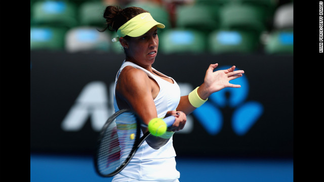 Keys plays a forehand in her third-round match against Kerber on January 18.