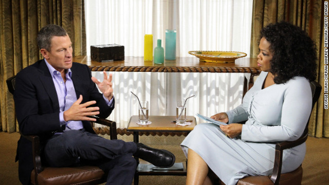"Oprah Winfrey speaks with Lance Armstrong during an interview on the controversy surrounding his cycling career on Monday, January 14, in Austin, Texas. Oprah Winfrey's exclusive no-holds-barred interview with Lance Armstrong, ""Oprah and Lance Armstrong: The Worldwide Exclusive,"" has expanded to air as a two-night event on OWN: Oprah Winfrey Network. The interview airs Thursday, January 17, and Friday, January 18."