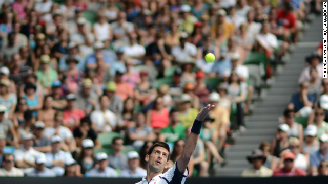 Novak Djokovic of Serbia serves against Radek Stepanek of the Czech Republic during their men's singles match on Day Five of the Australian Open in Melbourne, Australia, on Friday, January 18. Djokovic won 6-4, 6-3, 7-5. 