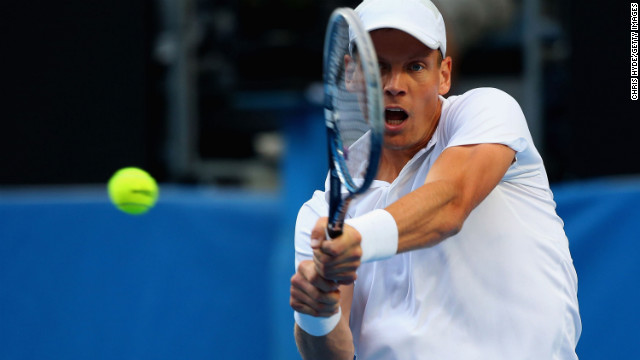 Tomas Berdych of the Czech Republic plays a backhand in his third round match against Jurgen Melzer of Austria on January 18. Berdych won 6-3, 6-2, 6-2.