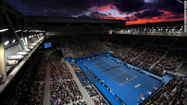 Clouds loom over the stadium in Melbourne Park as Berdych and Melzer compete in their third-round match on January 18.