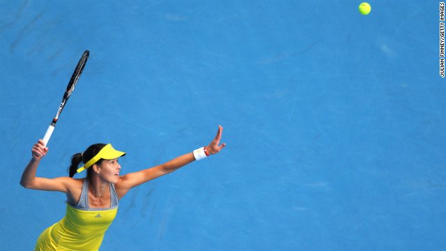Ana Ivanovic of Serbia serves in her third-round match against Jelena Jankovic of Serbia on January 18. Ivanovic won 7-5, 6-3.