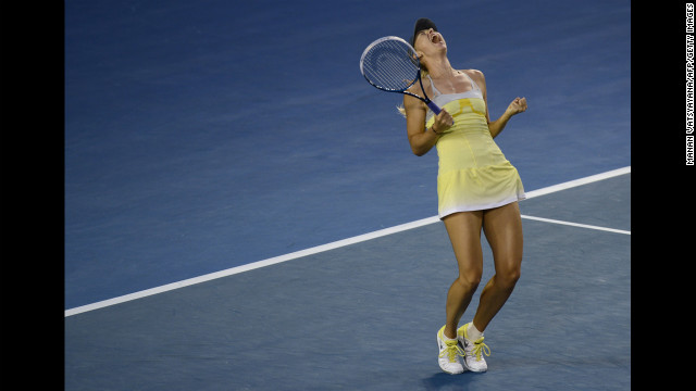 Maria Sharapova of Russia reacts after beating Venus Williams of the U.S. during their women's singles match on January 18. Sharapova won 6-1, 6-3.