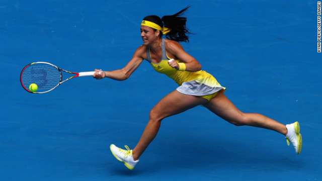 Sorana Cirstea of Romania plays a forehand in her third-round match against Na Li of China on January 18. Li won 6-4, 6-1.