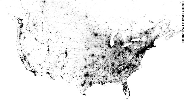 Interactive dot map aims to show every person in U.S., Canada