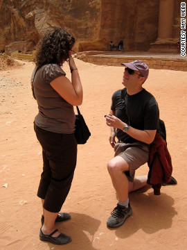 "Brian proposes in Petra, Jordan. Amy and Brian enjoy traveling at an intense pace, she said. ""We exhaust ourselves seeing everything we can in a short amount of time, and we try to explore at least one new country a year."""