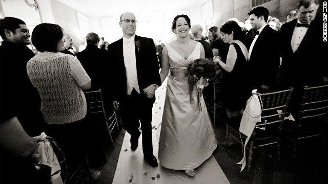 "Amy and Brian get married at the Engineers Club in Baltimore. ""We have the same exact viewpoint on religion,"" Amy said, ""We're Jew...ish."""