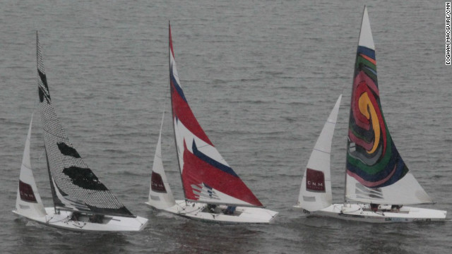 Adapting to the unique triangular shape of racing sails and the Dacron material they employ provided a unique challenge for all the artists involved.