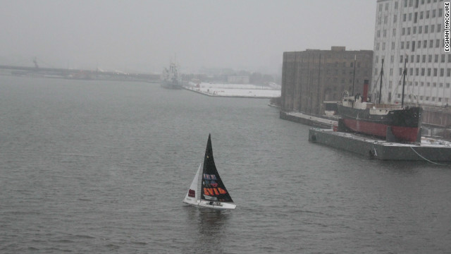 A lonely sail adorned with the work of British street-artist, Eine (a.k.a Ben Flynn), skips its way around London's Royal Victoria Dock, branded with the uncompromising slogan &quot;See No Evil.&quot; Eine received a famous name-check in 2010 when British prime minister David Cameron gifted one of his paintings to U.S. president Barack Obama while on a state visit.