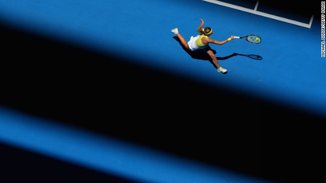 Maria Kirilenko of Russia plays a forehand in her third-round match against Yanina Wickmayer of Belarus.