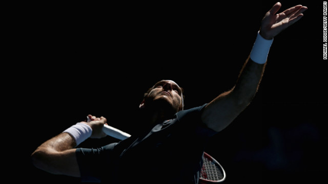 Juan Martin Del Potro of Argentina serves in his third round match against Jeremy Chardy of France.