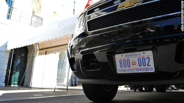 Obama rolls with 'Taxation Without Representation' plates