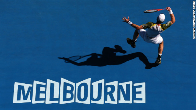 Britain's Andy Murray plays a forehand in his third-round match against Ricardas Berankis of Lithuania on January 19.