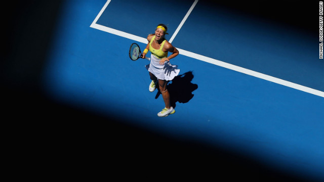 Maria Kirilenko of Russia celebrates match point in her third round match against Yanina Wickmayer of Belarus on January 19.